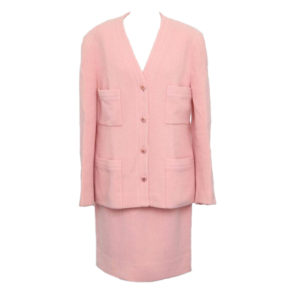 VINTAGE CHANEL PINK SUIT WITH CC BUTTONS