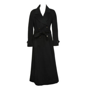 VINTAGE CHANEL BLACK CASHMERE BELTED COAT 1996