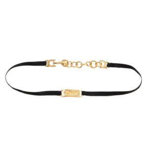 DIOR BY JOHN GALLIANO BLACK AND GOLD LOGO CHOKER