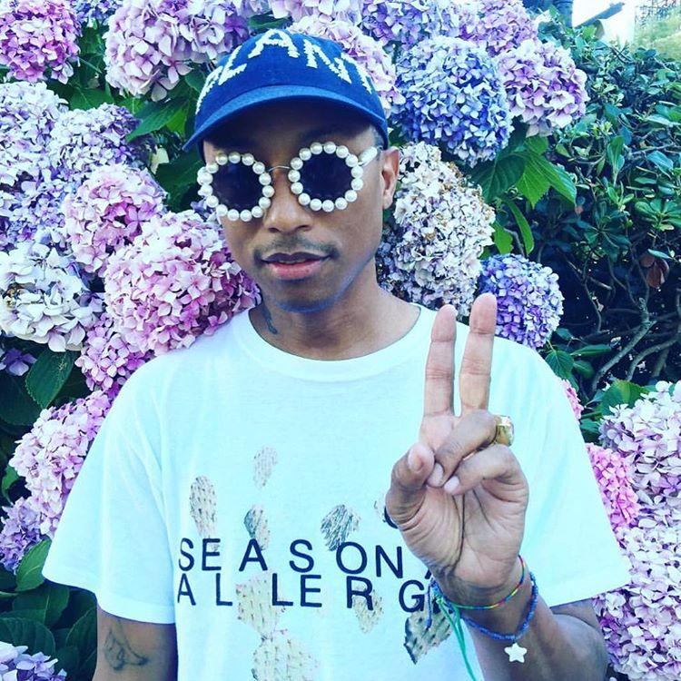 Pharrell wears Depuis 1924 Vintage Chanel pearl sunglasses
