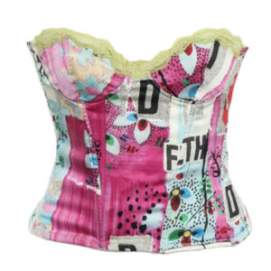 "CHRISTIAN DIOR BY JOHN GALLIANO SILK ""FILTH"" PRINT BUSTIER"
