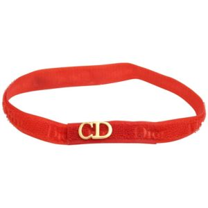 "CHRISTIAN DIOR ""CD"" LOGO RED CHOKER"