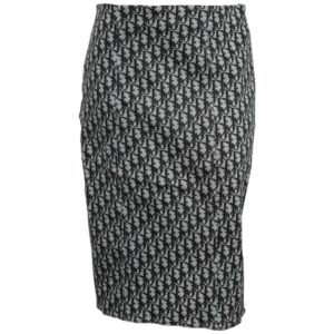 CHRISTIAN DIOR BY JOHN GALLIANO BLACK TROTTER LOGO SKIRT