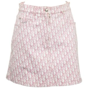 CHRISTIAN DIOR BY JOHN GALLIANO PINK TROTTER LOGO SKIRT