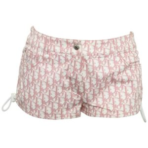 CHRISTIAN DIOR BY JOHN GALLIANO PINK TROTTER LOGO SHORTS