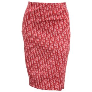 CHRISTIAN DIOR BY JOHN GALLIANO RED TROTTER LOGO PENCIL SKIRT