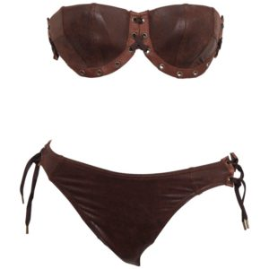 JOHN GALLIANO FOR CHRISTIAN DIOR BROWN FAUX LEATHER BIKINI – ON HOLD