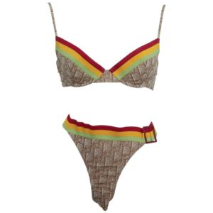 EXTREMELY RARE JOHN GALLIANO FOR CHRISTIAN DIOR BROWN LOGO BIKINI