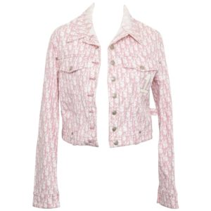 JOHN GALLIANO FOR CHRISTIAN DIOR PINK TROTTER LOGO DENIM JACKET