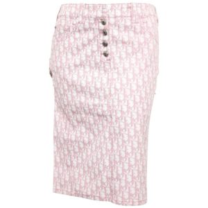 JOHN GALLIANO FOR CHRISTIAN DIOR PINK TROTTER LOGO PENCIL SKIRT