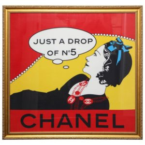 "EXTREMELY RARE CHANEL ""DROP OF NO.5"" SCARF IN GOLD FRAME"