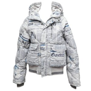 JOHN GALLIANO ICONIC NEWSPAPER PUFFY JACKET