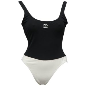 CHANEL BLACK AND WHITE SWIMWEAR WITH CC LOGOS