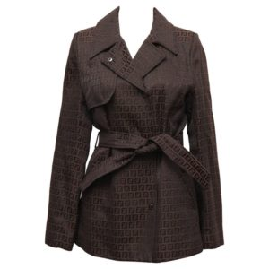 FENDI BELTED COAT WITH ICONIC LOGO