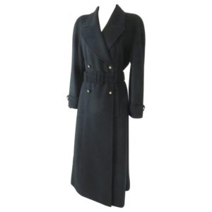 CHANEL BLACK BELTED CASHMERE LONG COAT