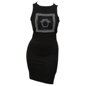VERSACE JEANS COUTURE BLACK BODY CON DRESS WITH MEDUSA