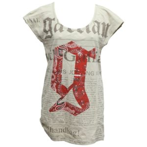 JOHN GALLIANO NEWSPAPER PRINT KHAKI T-SHIRT