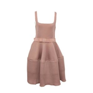 LANVIN BEIGE HONEYCOMB DRESS