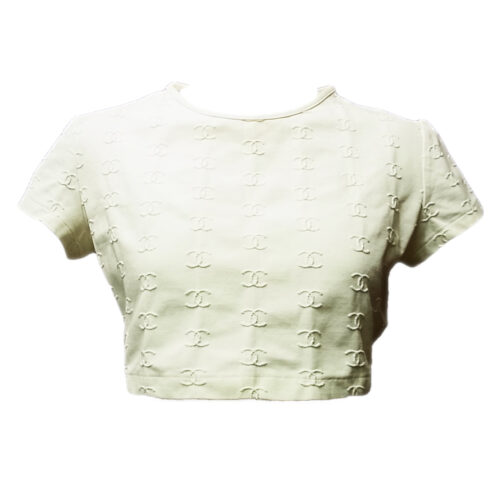 VINTAGE CHANEL LOGO EMBROIDERED T-SHIRT WHITE